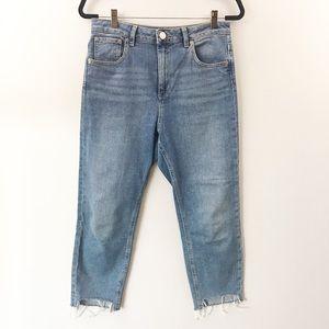 ASOS High Rise Hi-Lo Raw Edge Crop Denim Jean